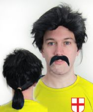 David Seaman Ponytail Wig & Moustache Football Fancy Dress